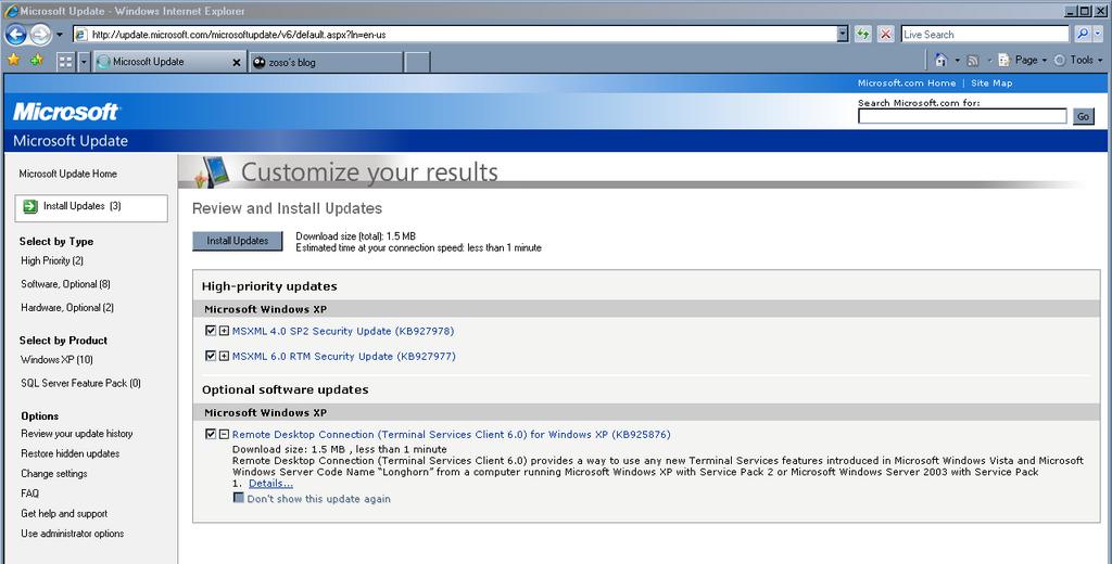 update la Remote Desktop Connection